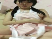 【無修正】□リ巨乳娘が裸エプロン姿で自撮りオナニー