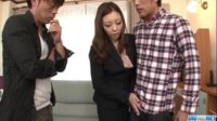 【無修正】美人キャリアウーマンを生中出し3Pハメ!!パンスト足エロい