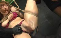 【無修正】緊縛されて吊り上げられた巨乳美女を玩具アクメ責め
