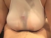 【無修正】透けた白レオタードの切り取られたパイズリ用の穴からチンポを挿入してローションでぬるぬるの着衣パイズリで乳内射精!素人もえ【個人撮影】