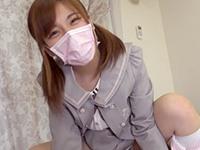 【無修正】アイドル志望の美少女に制服コスで桜色の美マンに中出し
