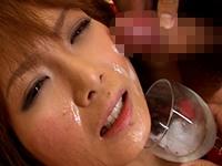 【無修正】フェラ抜きして集めた8人分の精液を注射器でマンコに注入
