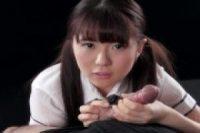【無修正】可愛いツインテ美少女JKが極太ギンギンチンポをメス顔でエッチな手コキ
