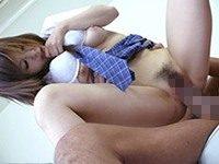 【無修正】JKの制服コスが可愛い童顔な美少女が小さい美マンをデカチンで激突きされて中出し!あいりみく